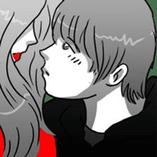 Manga couple in love sticker #9853652