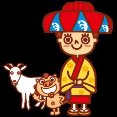 Okinawa Sticker MAHAE, CHIM, KUKURU