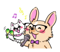 Large dog and glasses Chihuahua sticker #9910007