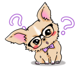 Large dog and glasses Chihuahua sticker #9910009