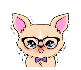 Large dog and glasses Chihuahua sticker #9910025