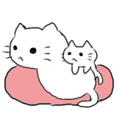 White cat and little cat
