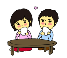 Cheerful husband with angry wife sticker #9988723