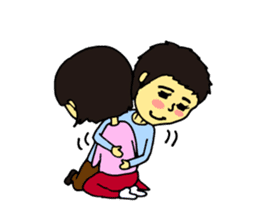 Cheerful husband with angry wife sticker #9988727