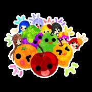 สติ๊กเกอร์ไลน์ Sticker of fruits and little girls