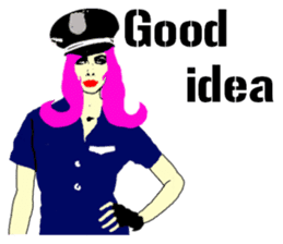Cool policewoman's sticker #10120698