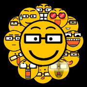 สติ๊กเกอร์ไลน์ Round face expressions(glasses ver.)