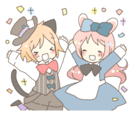 Cat ear girl Necoco&Rabbit ear girl Rosy sticker #10270622