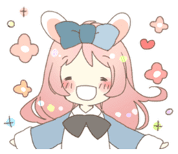 Cat ear girl Necoco&Rabbit ear girl Rosy sticker #10270630