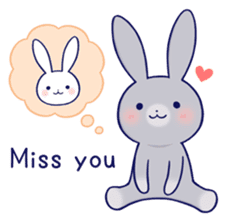 Lovey-dovey rabbit Gray rabbit ver 2 sticker #10317634