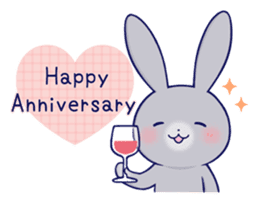 Lovey-dovey rabbit Gray rabbit ver 2 sticker #10317654