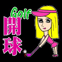 Blonde playing golf