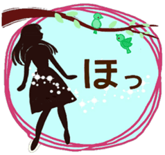 Large text message 3 Silhouette of girl sticker #10398639