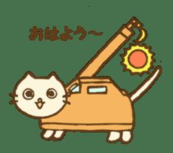 White cat with crane truck sticker #10413752