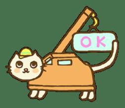 White cat with crane truck sticker #10413753