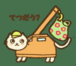 White cat with crane truck sticker #10413755