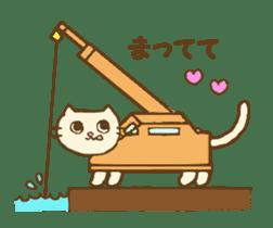 White cat with crane truck sticker #10413758