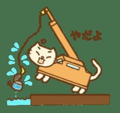 White cat with crane truck sticker #10413759