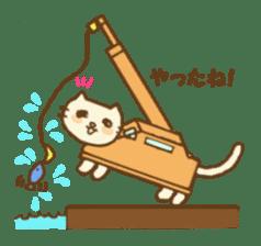 White cat with crane truck sticker #10413760