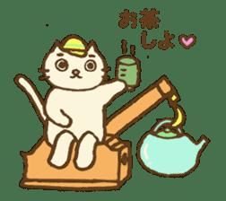 White cat with crane truck sticker #10413767