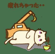 White cat with crane truck sticker #10413769