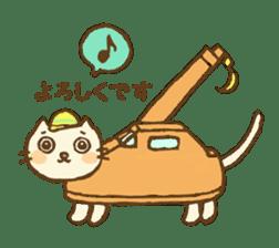 White cat with crane truck sticker #10413779