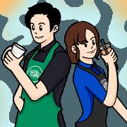 สติ๊กเกอร์ไลน์ เจ้าชายกาแฟ vs เจ้าแม่ชานม(ไข่มุก)