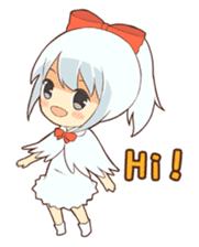 white crane girl sticker #10507280