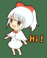 white crane girl sticker #10507280
