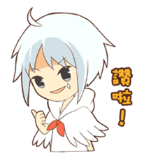 white crane girl sticker #10507316