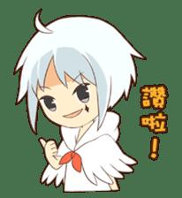 white crane girl sticker #10507316