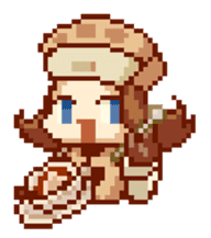 8-bit coffee girl sticker #10598470