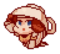 8-bit coffee girl sticker #10598471