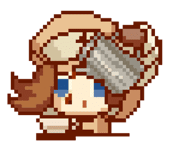 8-bit coffee girl sticker #10598480