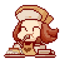 8-bit coffee girl sticker #10598483