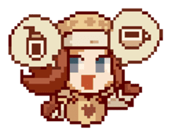 8-bit coffee girl sticker #10598488