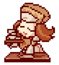 8-bit coffee girl sticker #10598491