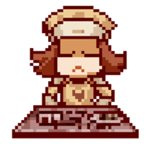 8-bit coffee girl sticker #10598495
