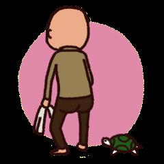 Grandpa and turtle
