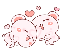 Fluffy Bear Shout the love! pinky! sticker #10834724