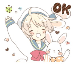 Rabbit ear boy Nicola sticker #10858288