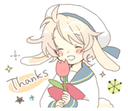 Rabbit ear boy Nicola sticker #10858291