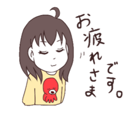 The girl who likes octopuses. sticker #11121134