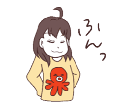 The girl who likes octopuses. sticker #11121139
