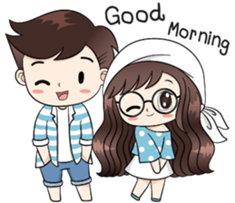 Boobib Cute Couple By B B Design Sticker 11124650