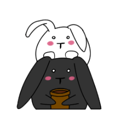 Rabbits and flower pot Life Studio©  elPortale   Sell LINE Sticker, Sell LINE Theme
