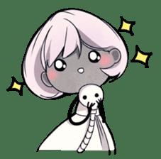 Girl and Skull sticker #11148377