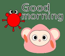 Triangle monkey with friends (English) sticker #11355616