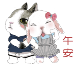 Cotton Ball and little rabbit2 sticker #11484697
