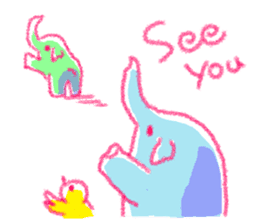 Crayon elephant sticker #11515953